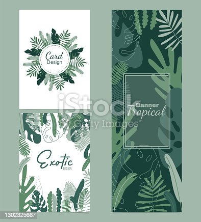 istock A set of templates composed of tropical leaves. Vertical banner. Stylish fashion frame. Wedding design. Design for sale. The leaves are not cut. Isolated and editable. 1302325667