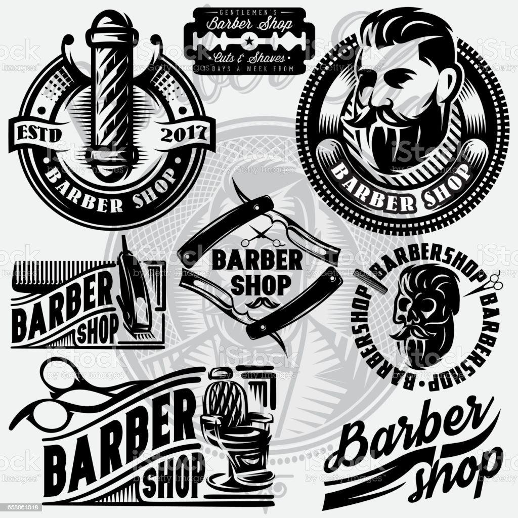 Set of templates for barbershop. Barbershop icons, vector illustration. - ilustración de arte vectorial