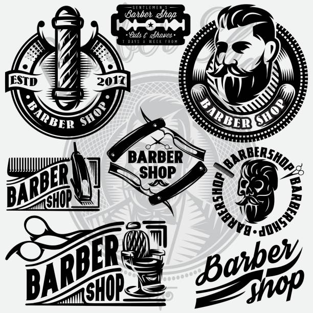 Set of templates for barbershop. Barbershop icons, vector illustration. vector art illustration