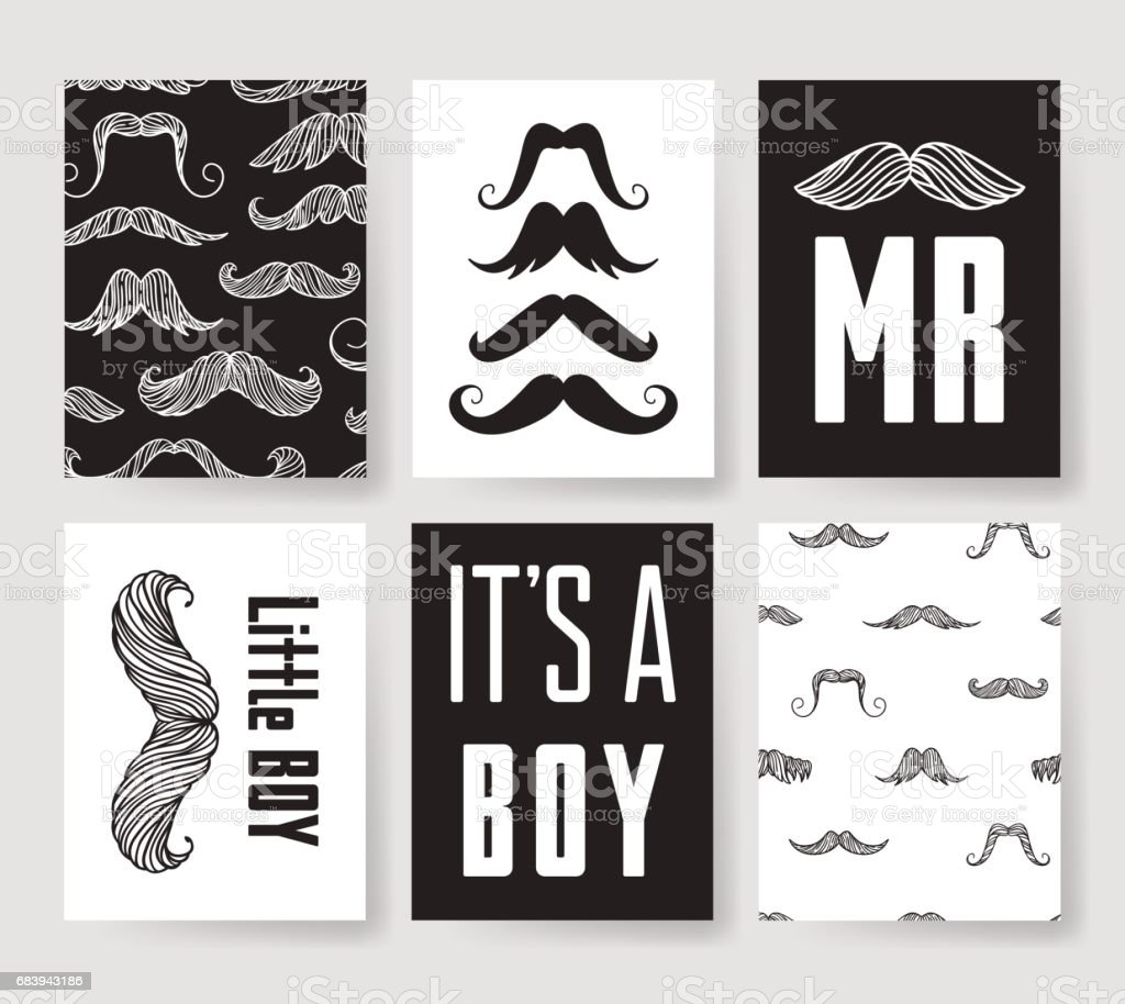Set Of Templates For Boys Birthday Cards Hand Drawn Vector Patterns