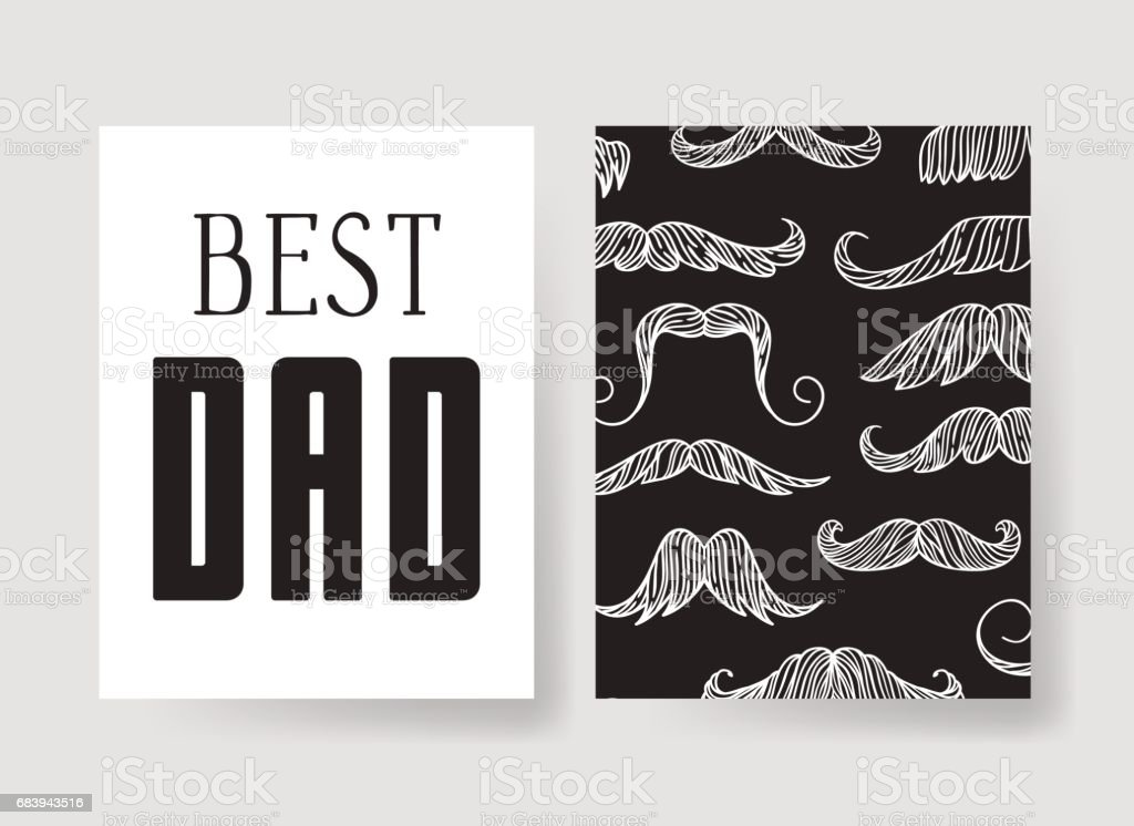Set of templates for cards. Hand drawn vector patterns design flyers for Happy Fathers Day vector art illustration