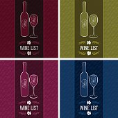 set of vector templates for cover menus and wine