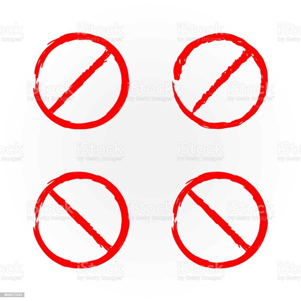 set of templates for design red prohibition signs four isolates