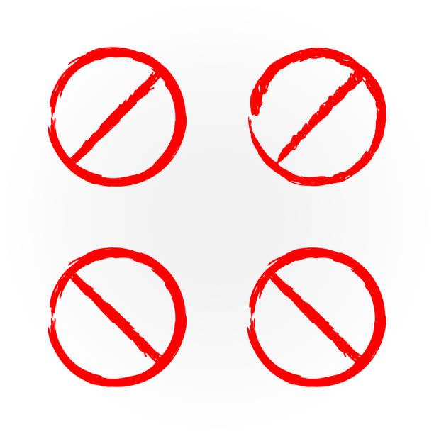 디자인 빨간색 금지 표지판에 대 한 서식 파일의 설정. 4 개의 격리 합니다. 그런 지입니다. - prohibition stock illustrations