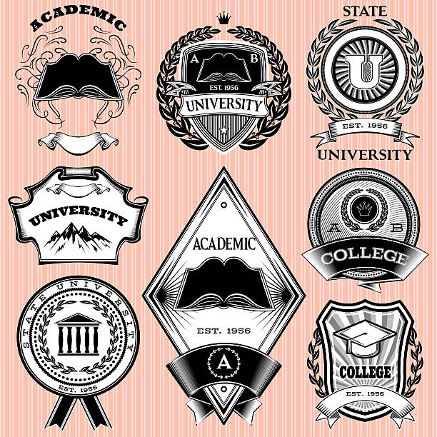 set of templates for emblem in education - university stock illustrations, clip art, cartoons, & icons