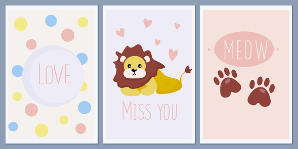 A set of templates for greeting cards and baby shower invitations with animals. Cute lion. Paw prints. Designer vector abstract Scandinavian style greeting wall posters