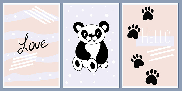 Set of templates for greeting cards and party invitations with animals. Cute Panda. Background child prints. Design vector abstract wall posters with welcome messages. pastel colors