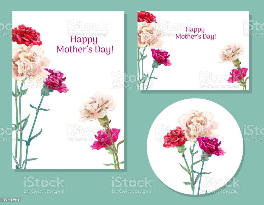 Set Of Templates For Mothers Day Carnation Schabaud Red Pink White