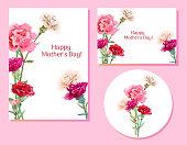 母の日 (垂直、水平、ラウンド) テンプレートのセット: カーネーション schabaud: 赤、ピンク、白の花、緑葉、白背景、手描き、ビンテージのボタニカル イラスト ベクトル