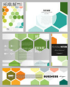 Set of business templates for presentation, brochure, flyer or booklet. Abstract colorful business background, modern stylish hexagonal vector texture