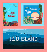 a set of three templates Jeju Island. underwater world, marine life, starfish, corals, algae, school of fish. for cards, banners and posters