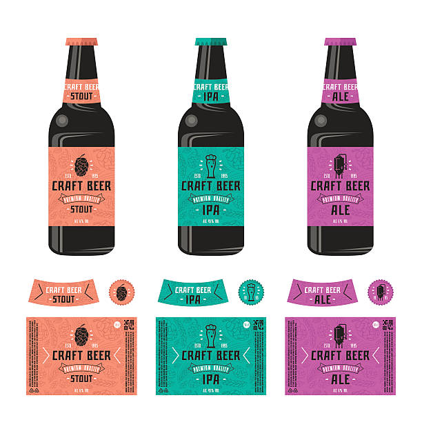 set of templates label for craft beer - thin line fonts stock illustrations