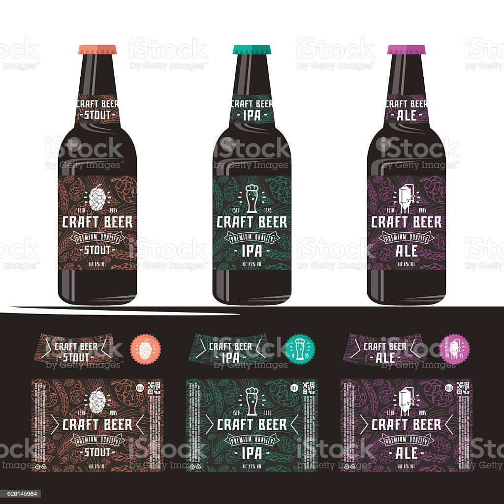 set of templates label for craft beer アルコール飲料のベクター
