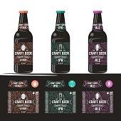 Set of templates label for craft beer. Print on a black or transparent background. Presentation on the bottle