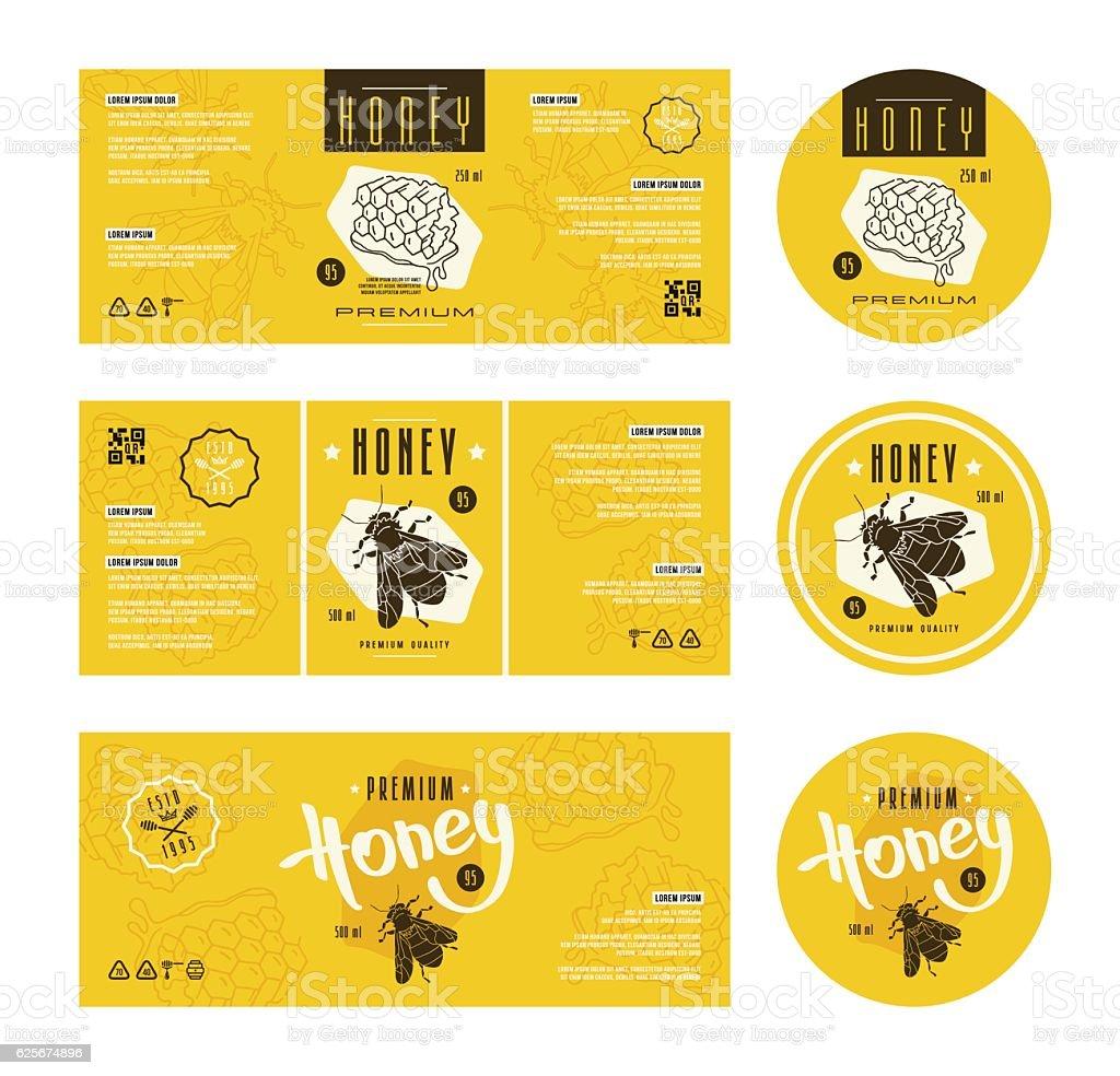Set of templates label for honey vector art illustration