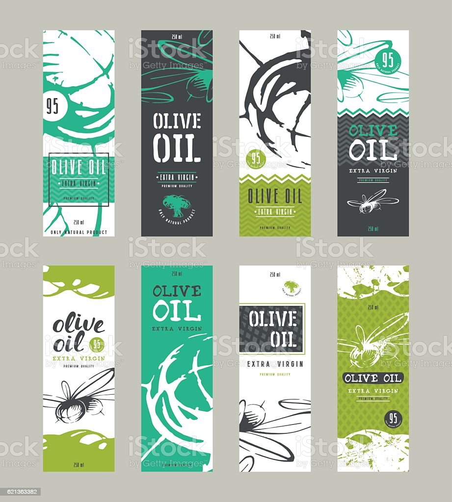 Set of templates label for olive oil - ilustración de arte vectorial