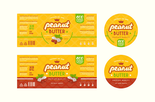 Set of templates label for peanut butter