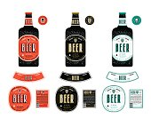 Set of templates labels for lager beer. Label with color background and presentation on the bottle