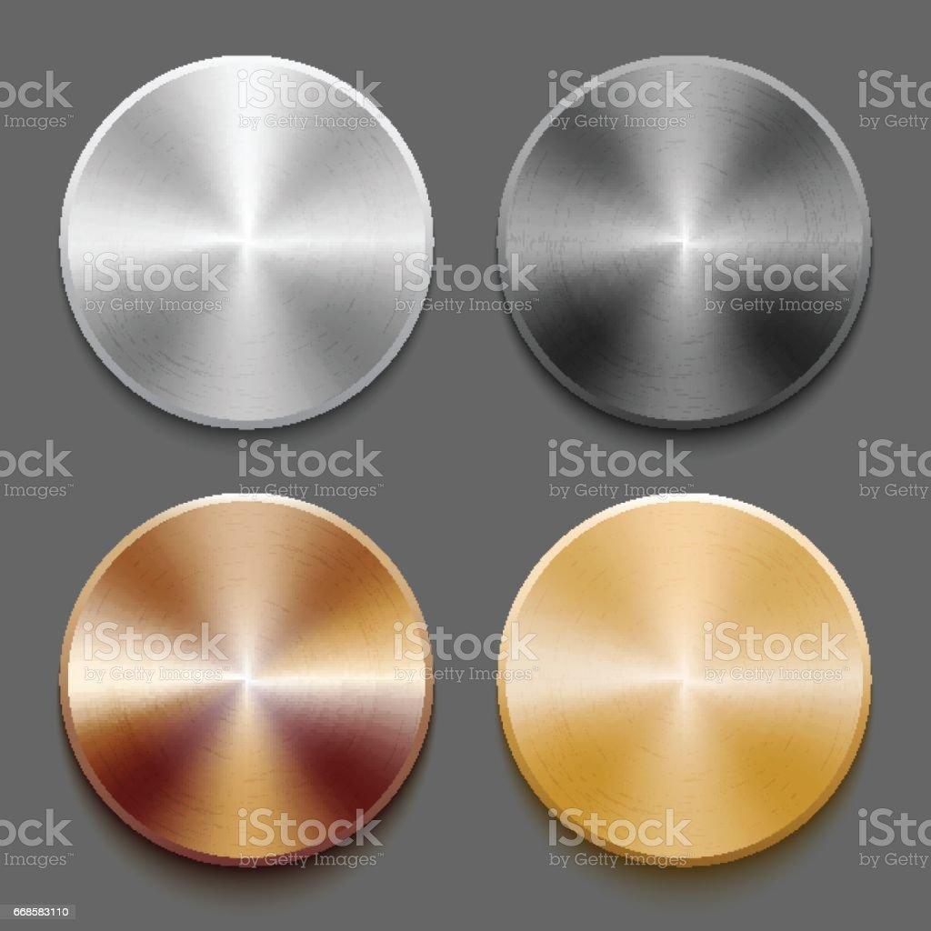 Conjunto de botão de metal de modelos - ilustração de arte em vetor