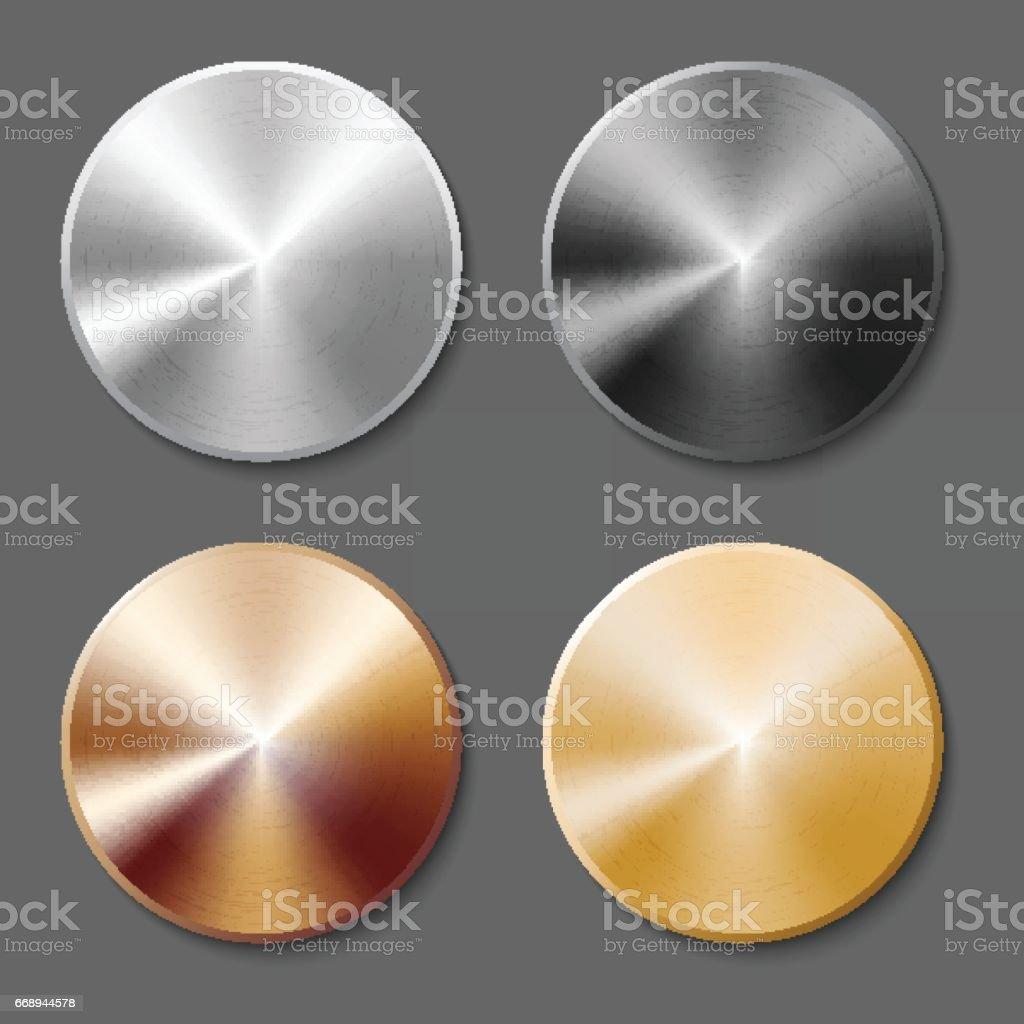 Conjunto de botón del metal plantillas - ilustración de arte vectorial