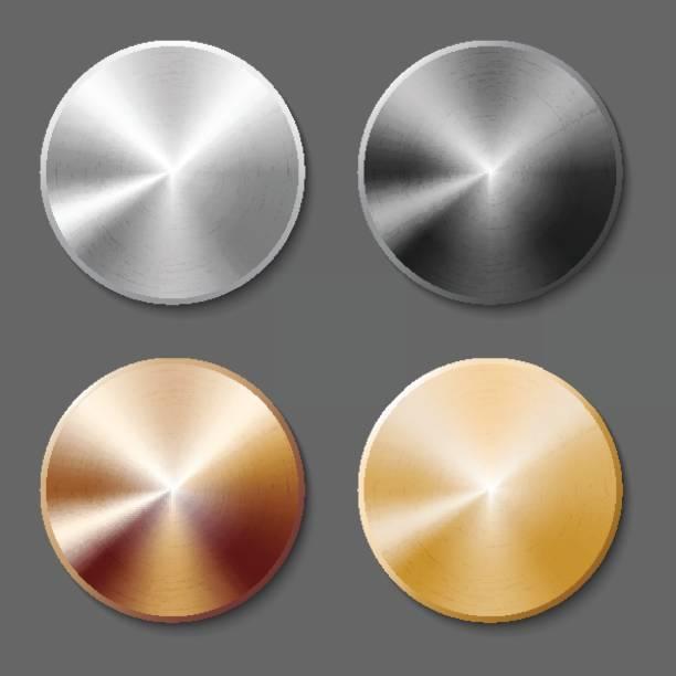 Satz von Vorlagen Metallknopf – Vektorgrafik