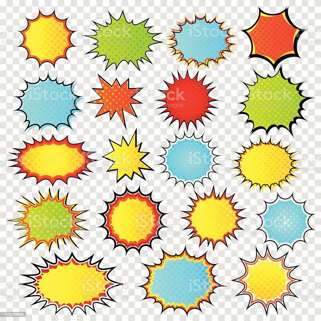 Conjunto de plantillas de discurso burbujas.   Arte Pop estilo.   Cómic - ilustración de arte vectorial