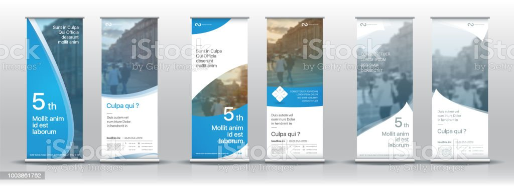 Set of templates with a design of vertical banners. Signboard Advertising Brochure Flyer Template Vector X-banner