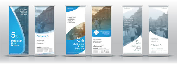 帶有垂直橫幅設計的樣板集。招牌廣告宣傳冊傳單範本向量 x 橫幅 - 垂直構圖 幅插畫檔、美工圖案、卡通及圖標