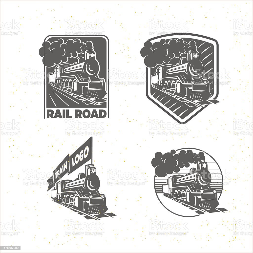 Set of templates with a locomotive. Vintage train, logotypes, il vector art illustration