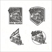 Set of templates with a locomotive. Vintage train, logotypes, il