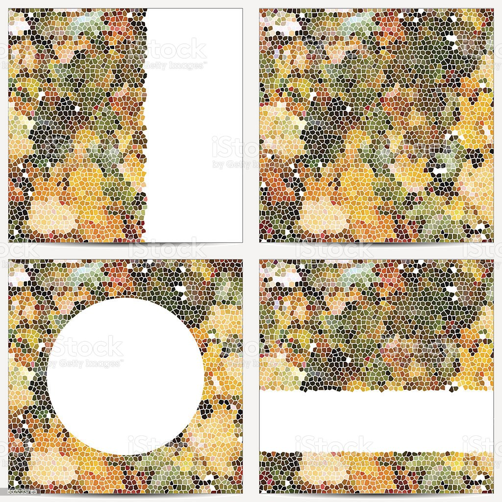 Set of templates with autumn leaves mosaic vector art illustration