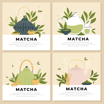 Set of templates with teapots and matcha accessories.