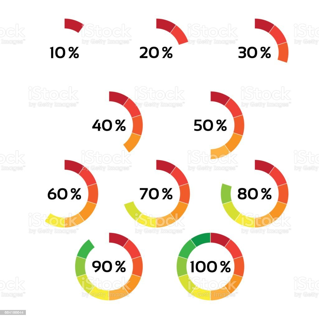 Set of ten color percentage indicators isolated on a white set of ten color percentage indicators isolated on a white background vector circle diagram with ccuart Images