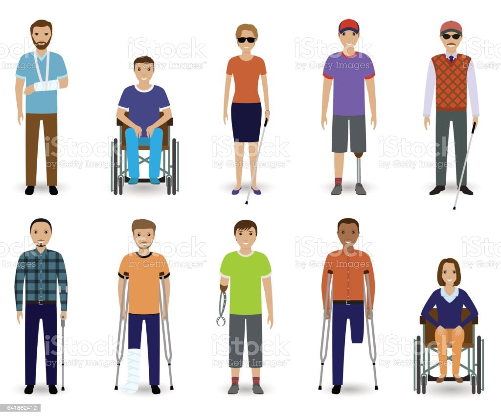 Set of ten disabled people characters. Disability concept. Group of male and female invalid men. vector art illustration