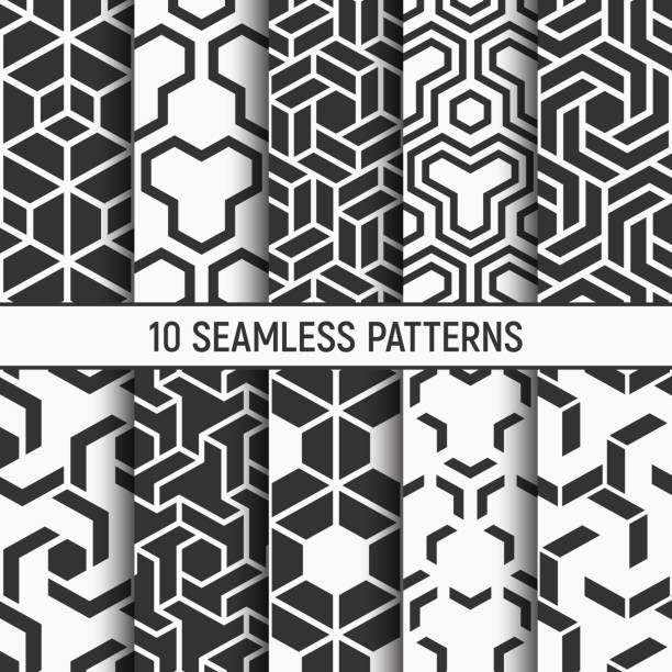 Set of ten monochrome seamless patterns. Set of ten seamless patterns. Abstract geometrical trendy vector monochrome backgrounds. Hexagon textures. Chevron elements form stylish tileable print. Polygonal grid of bold striped elements. seamless pattern stock illustrations