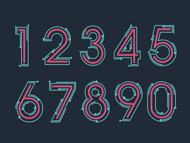 (Element) set of ten numbers form zero to nine, number flat design vector art illustration