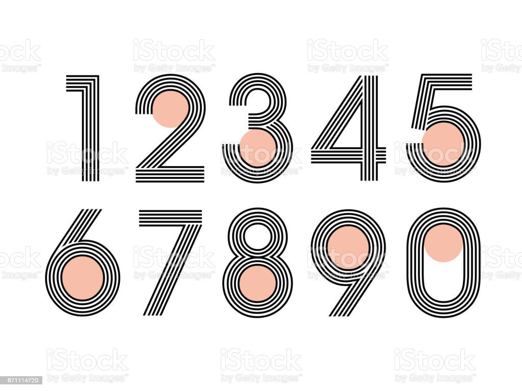(Element) set of ten numbers form zero to nine, number flat design vector art illustration