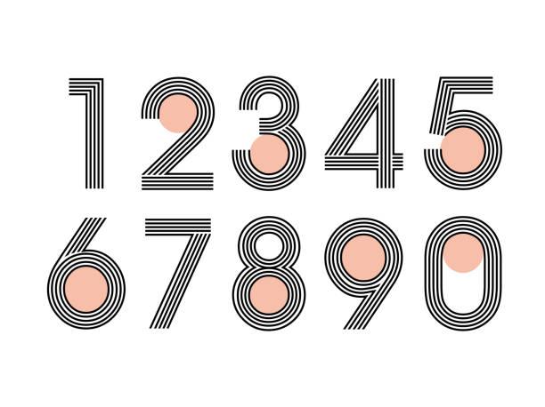(Element) set of ten numbers form zero to nine, number flat design (Element) set of ten numbers form zero to nine, number flat design numbers stock illustrations