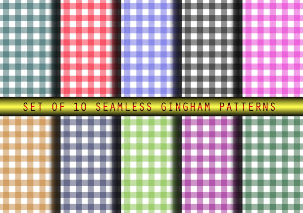 10 のシームレスなギンガム チェック パターンのセット - ランチョンマット点のイラスト素材/クリップアート素材/マンガ素材/アイコン素材
