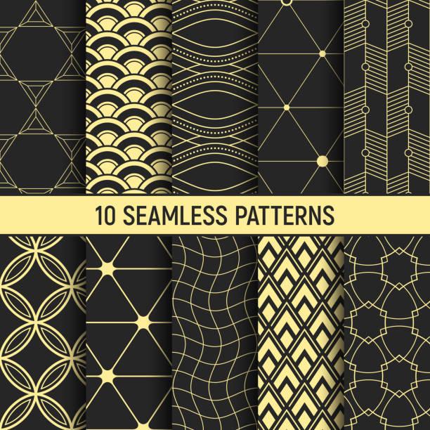 一連の 10 のシームレスなパターンです。 ベクターアートイラスト