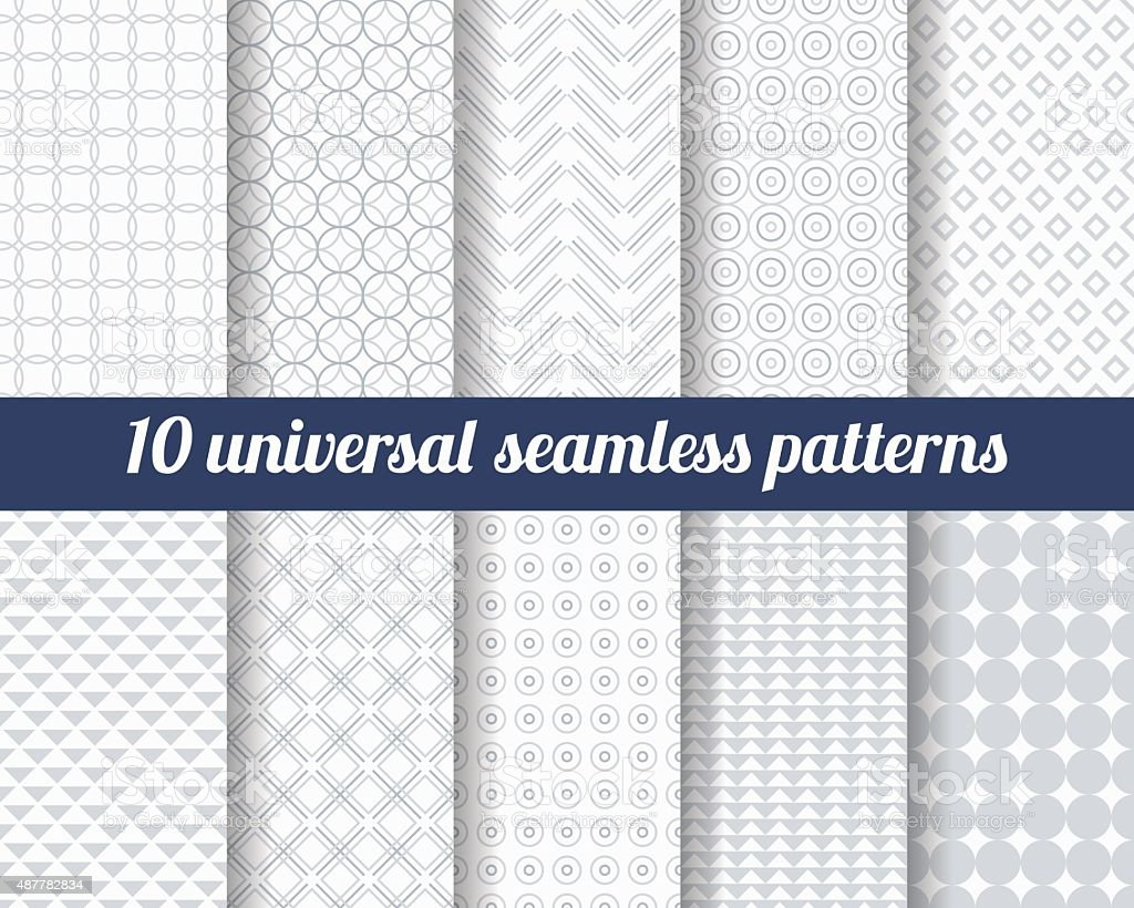 Set of ten subtle seamless patterns. vector art illustration
