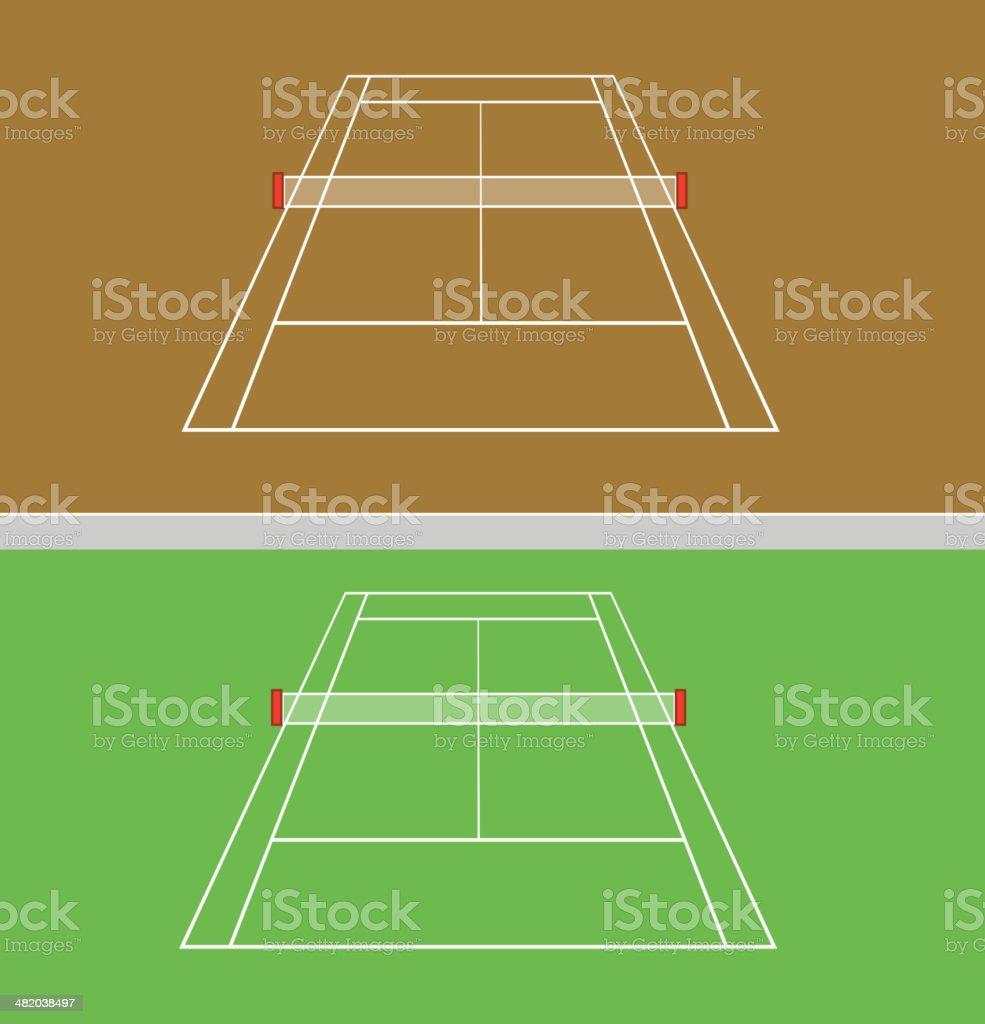 set of tennis courts vector art illustration