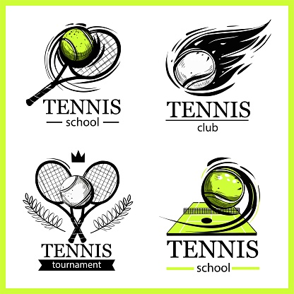 Set of tennis emblems. Tennis club, tennis school, tournament. Logo design, vector illustrations