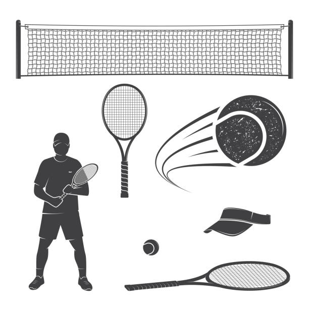 Set of tennis equipment silhouettes Set of tennis equipment silhouettes. Vector illustration. Collection include tennis racket, balls, tennis net, player and visor silhouettes. racket stock illustrations