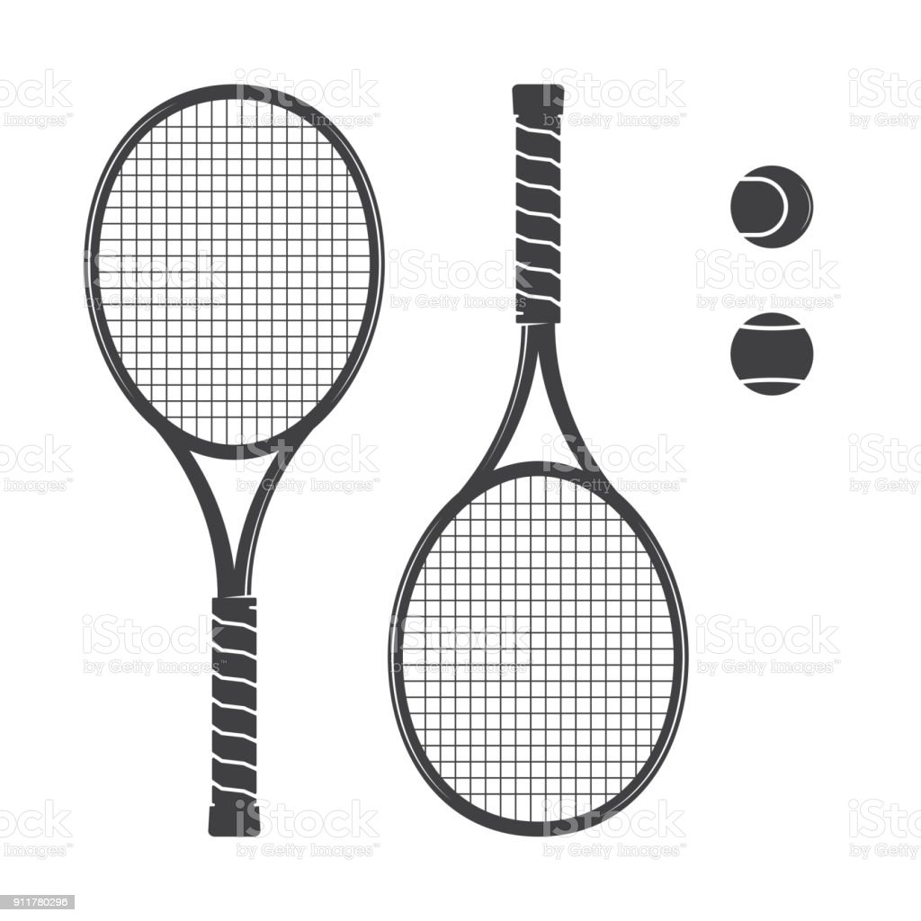 Set of tennis rackets and tennis balls royalty-free set of tennis rackets and tennis balls stock illustration - download image now