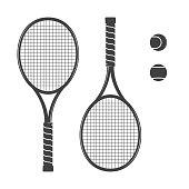 Set of tennis rackets and tennis balls