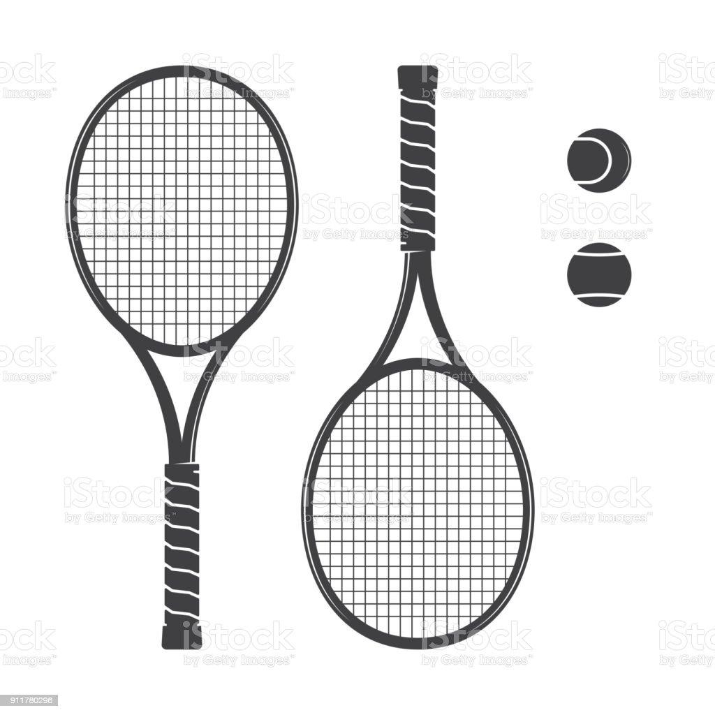 Jeu de raquettes de tennis et balles de tennis - Illustration vectorielle