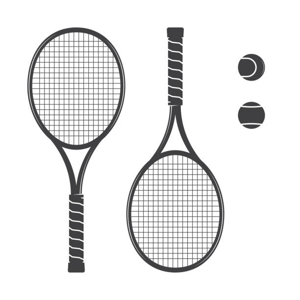 Set of tennis rackets and tennis balls Set of tennis rackets and tennis balls. Vector illustration. Racquets silhouette on the white background. racket stock illustrations
