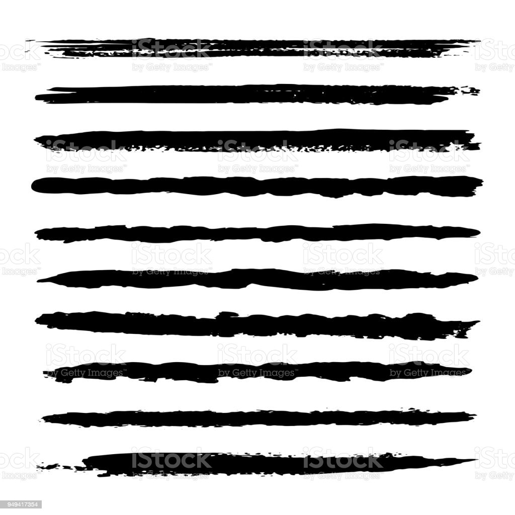 Set of textured hand drawn vector lines. Wave, straight, patterns black strokes. Ink brush drawing vector art illustration