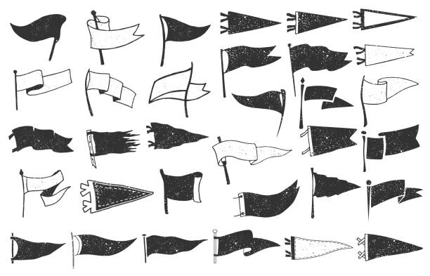 Set of textured pennants. Retro monochrome labels. Hand drawn wanderlust style. Pennant flags design Set of textured pennants. Retro monochrome labels. Hand drawn wanderlust style. Pennant flags design. Vector illustration. pennant stock illustrations
